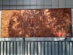 手工制作锻铜浮雕酒店背景墙壁画定制